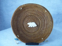"Smoked Grass Basket Polar Bear7"" Round"