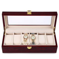 High Quality 6 Slots Luxury Wood Watch Display Case