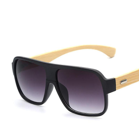 New  Bamboo  Square Wooden Sunglasses, Unisex