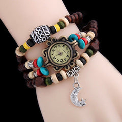 Vintage Lady Quartz Watch Wooden Beads Bracelet