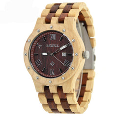 Wooden Watch Men  With  Auto Date, Quartz