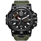 Men Sports Watch, Dual Display Analog Digital LED Electronic Quartz, Waterproof