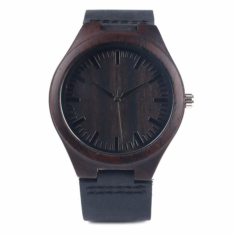 Hot Sale Men's Black Natural Wooden Watch Genuine Leather Wristwatch Good Quality Quartz Wristwatches Wood Watch Top Gift Item
