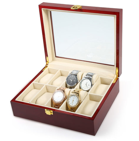 New Fashion 10 Grid Wooden Watch Display Slot Case Box
