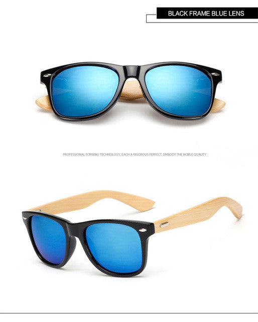 Designer Bamboo Mirror Sunglasses Men Women
