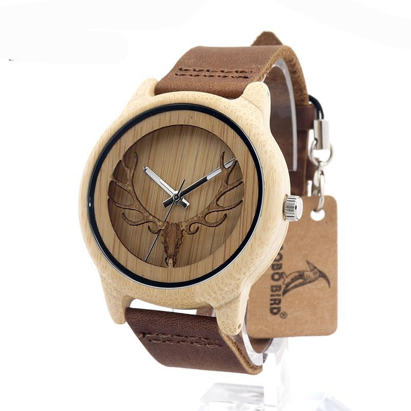 Deer Head  Bamboo Wood Casual Watch With Genuine Leather Strap Quartz Watch With Gift Box