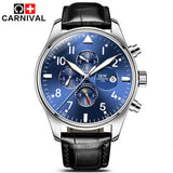 Carnival Top Brand Luxury Mens Watches Sapphire Fashion Mechanical Watch Multifunction 6 Hands Men Casual Luminous Wrist watch