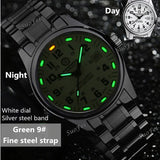 Tritium Luminous waterproof 200m diving Sports Luxury Brand Mens Watches Fashion Quartz military watch full steel leather strap