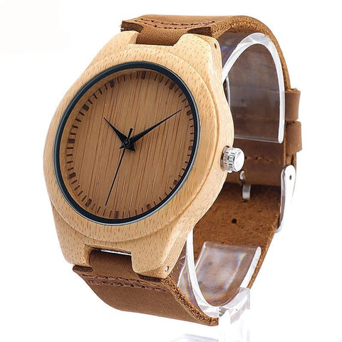 BOBO BIRD F18 Japanese Miyota Bamboo Wristwatch Genuine Leather Band   for Men and Women Best Gifts