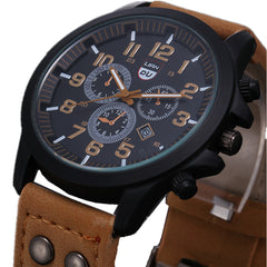 New Business Army Quartz Watch for Men Sporty with Leather Strap
