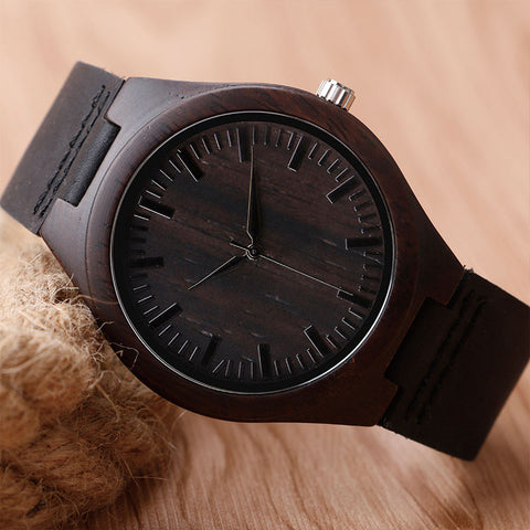 Casual Nature Bamboo Watch Leather  Strap men women analog