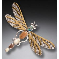 dragonfly pendant/pin paua shell body and 14kt gold accents