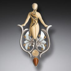 Emergence,Fossilized Walrus Ivory Mother of Pearl Pendant with 14kt Gold Fill, Handmade Silver