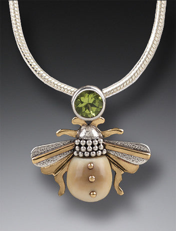 bee pendant/necklace w/peridot gem