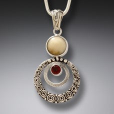 ripple pendant/necklace /GARNET gem