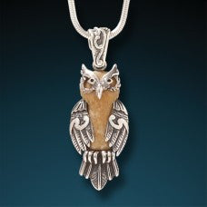 Fossilized Ivory Pendant Wise Owl