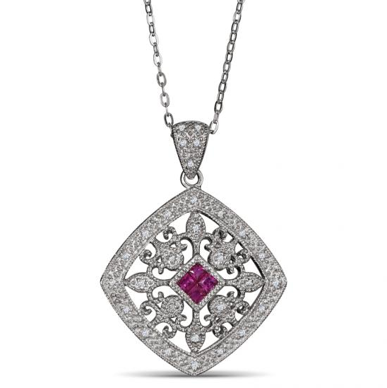 Ruby and Diamond Pendant in Sterling Silver