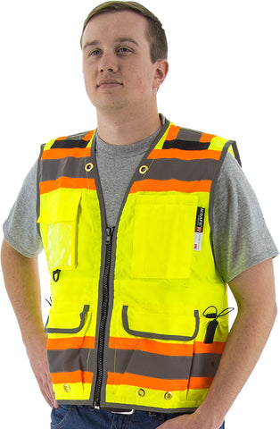 Majestic High visibility yellow two-tone heavy duty surveyors vest