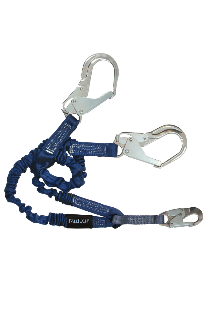 Falltech 8240Y3A ElasTech 4-1/2' to 6' Adjustable Y-leg for 100% Tie-off; with 1 Aluminum Snap Hook and 2 Aluminum Rebar Hooks.