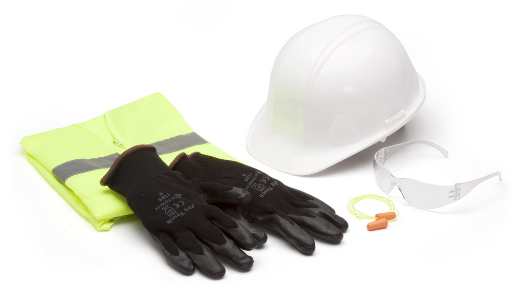 New Hire Kit - Hard hat, safety vest, earplugs, clear safety glass, gloves (Qty 10)