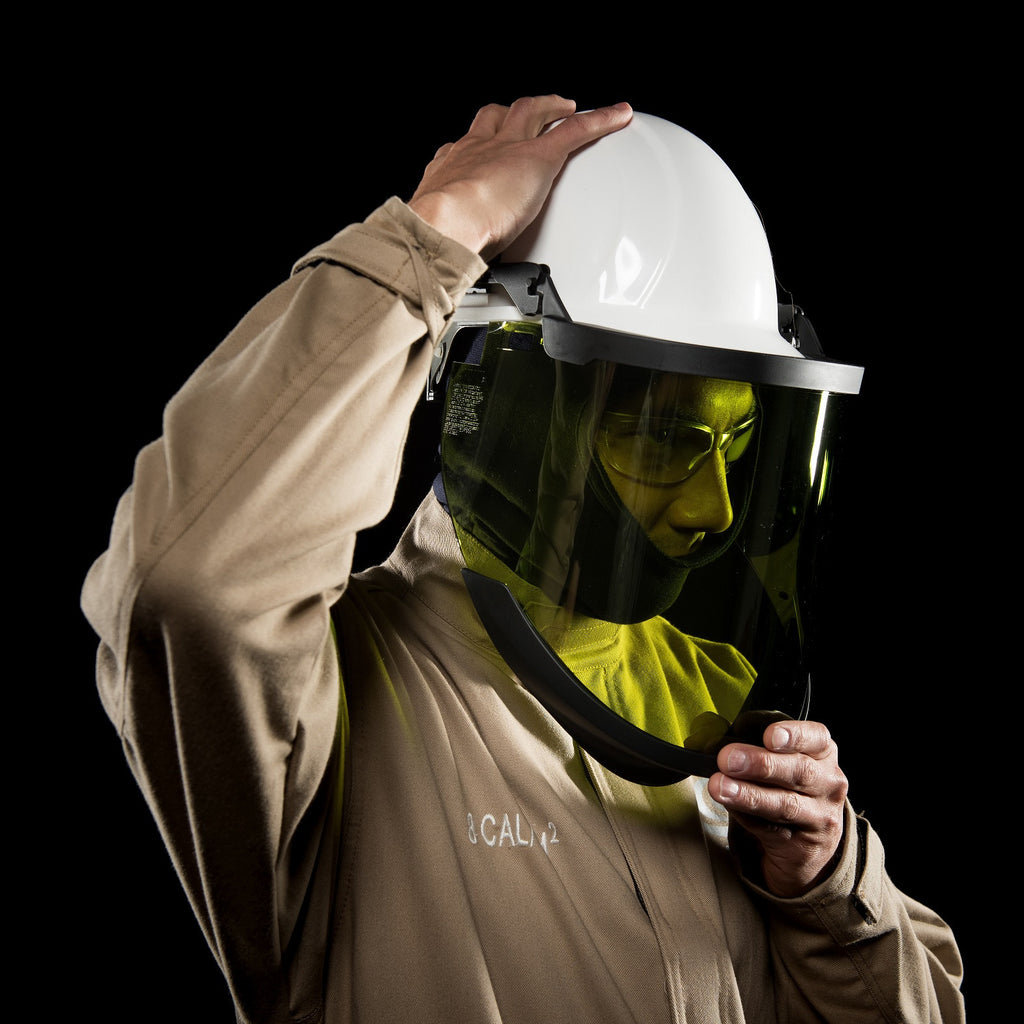 AFW033FB - 12 cal/cm2 High Performance Shield Kit without Hard Hat includes: Head Gear, Chin Guard, Shield and Hardware - Banding System for full brim hard hats