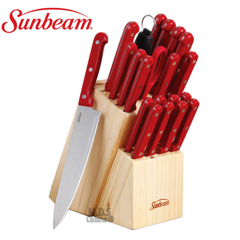 Sunbeam Cutlery 22 PC Block Set Stainless Steel Red Knives Collection Wood Storage New