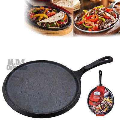 "Cast Iron Griddle 10"" Heavy Duty Comal Skillet Nonstick Tortilla Grill Camping"