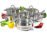Stainless Steel 12pc Cookware Set W/ Heavy Gauge Capsulated Bottom & Glass Lids