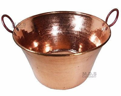 "Cazo De Cobre Para Carnitas Large 18"" Heavy Duty Gauge Copper 100% Made Mexico"