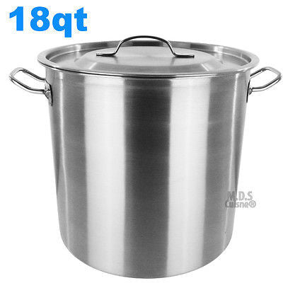 Stock Pot Stainless Steel 18Qt Heavy Duty Boiling Soup Catering Brewing Olla New