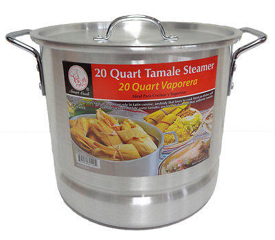 20 Qt Tamale Steamer Vaporera Stock pot Premium Aluminum 5 Gallons Fry Pan NEW