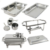 Chafer Single Tray 8 Qt. Set Commercial Stainless Steel Full Size Food Warmer Buffet