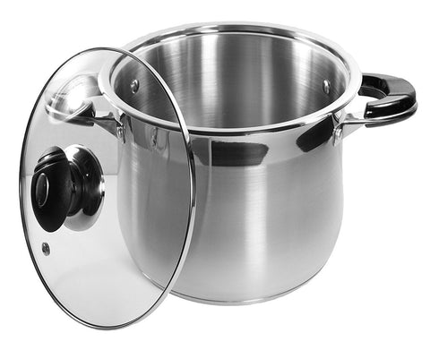 10 Qt Stock Pot 18/10 Stainless Steel Super Double Capsulated Bottom w/ Glass Lid
