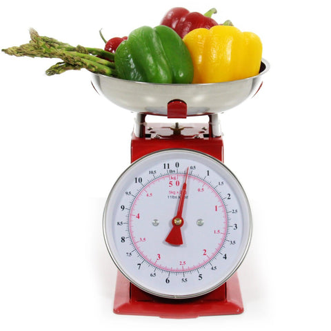 Mechanical Scale 11lb Stainless Steel Multipurpose Weight Food Silver Red NEW