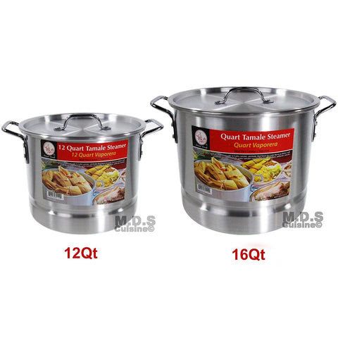Stockpot Set With Steamer Aluminum Vaporera Tamalera Traditional Stock Pot Olla Tamale (Set 8Qt / 20Qt)