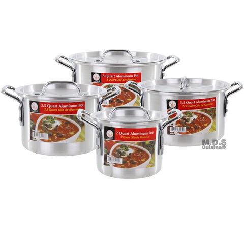 Stock pot Set Aluminum 4pc 2, 3.5, 5.5, 8Qt Cookware Set Steamer