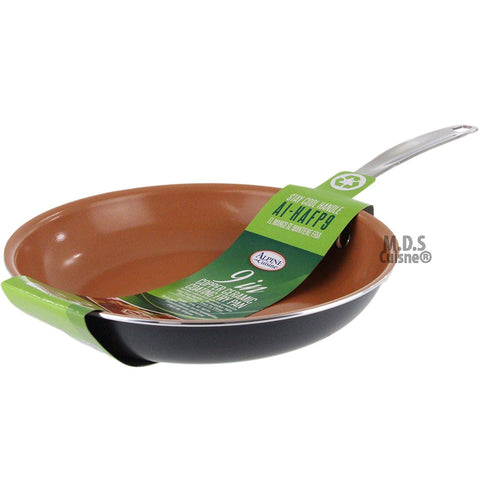"Fry Pan 9"" Copper Ceramic Coating Skillet Non Stick Eco Friendly Griddle"