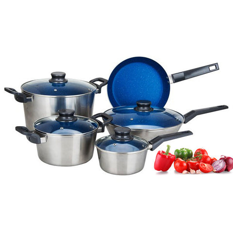 Cookware Set 9pc Blue Marble Coating Non Stick Metallic Exterior Heavy Duty Nonstick Dutch Oven, Fry pan, Deep Skillet