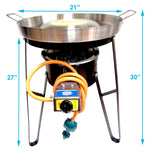 "Comal Convex 21"" with Burner Set Heavy Duty Metal Cazo Taco Propane Gas Hose Regulator Portable"