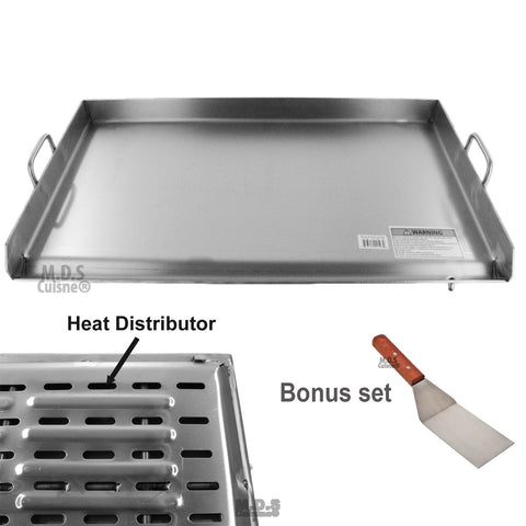 "Griddle Stainless Steel Flat Top With reinforced brackets under griddle-Heat Distributor Heavy Duty Comal Plancha 36"" x18"""