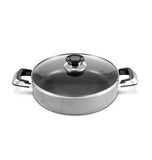 "Low Stock Pot 14"" Heavy Gauge Non-stick w/ Glass Lid Rice Cooker Casserole 12 Quarts"