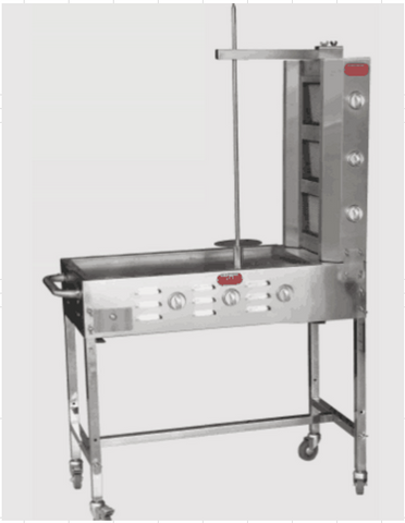 Trompo tacos al pastor 3 Burner Cart w/ Stainless Steel Griddle, Grill Convertion & 3 Salsa Trays