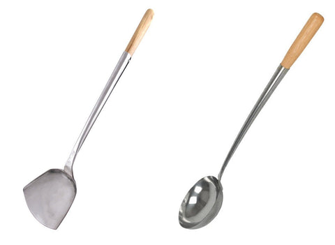 "Spatula & Ladle Set 17"" l. x 4.25"" Home Use Stainless Hand-Tooled Chuan & Hoak"