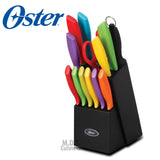 Oster Cutlery set 14Pc  Black Wood Storage Block Multicolor Knife Stainless Steel