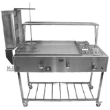 "Ematik Catering Cart 5 in 1 Trompo Tacos al Pastor Stainless Steel 36"" Griddle with Steamers"
