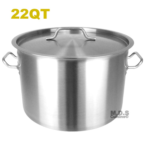 Dutch Oven Pot 22Qt Heavy Duty Capsulated Bottom w/ Lid Traditional Olla Stainless Steel Stockpot