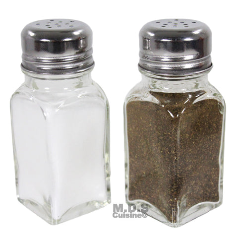 Salt and Pepper Shaker Set of 2 Stainless Steel and Clear Glass Classic Shakers