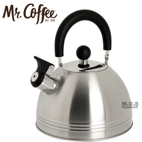 Mr. Coffee Carterton Stainless Steel Whistling Tea Kettle, 1.5-Quart