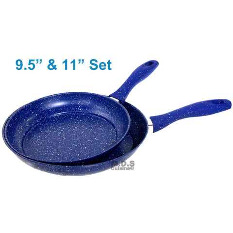Frypan Set 2pc Non Stick Blue marble Skillet Heavy Duty Fry Pan Induction Ceramic New