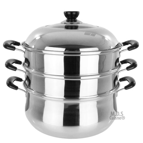 Stainless Steel Steamer Pot 3 Tier Layer Cookware Kitchen ECO Friendly New